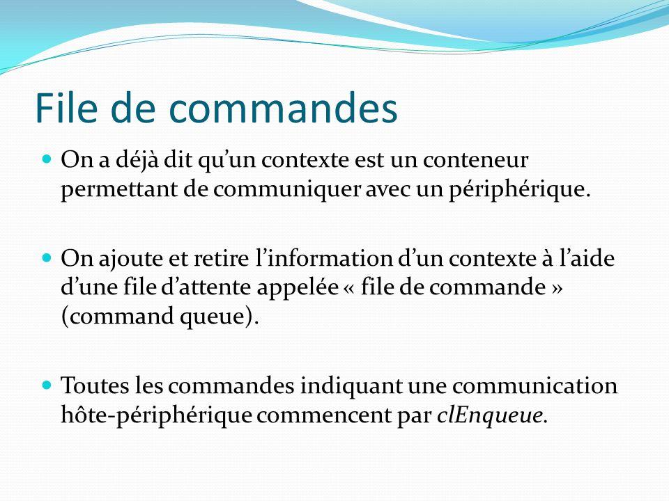 File de commandes On a déjà dit qu'un contexte est un conteneur permettant de communiquer avec un périphérique.