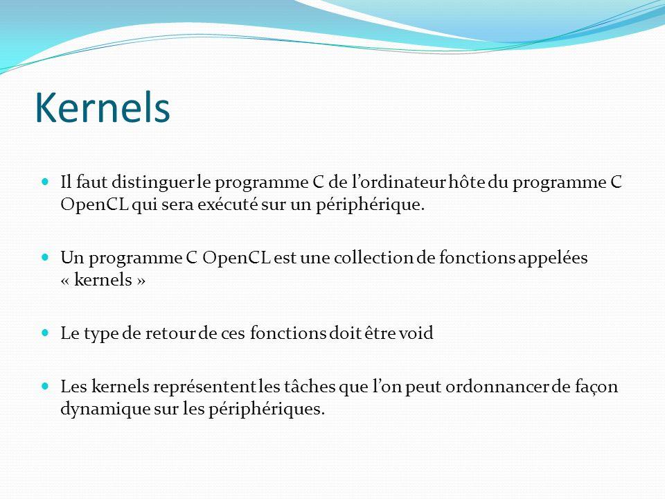 Kernels Il faut distinguer le programme C de l'ordinateur hôte du programme C OpenCL qui sera exécuté sur un périphérique.