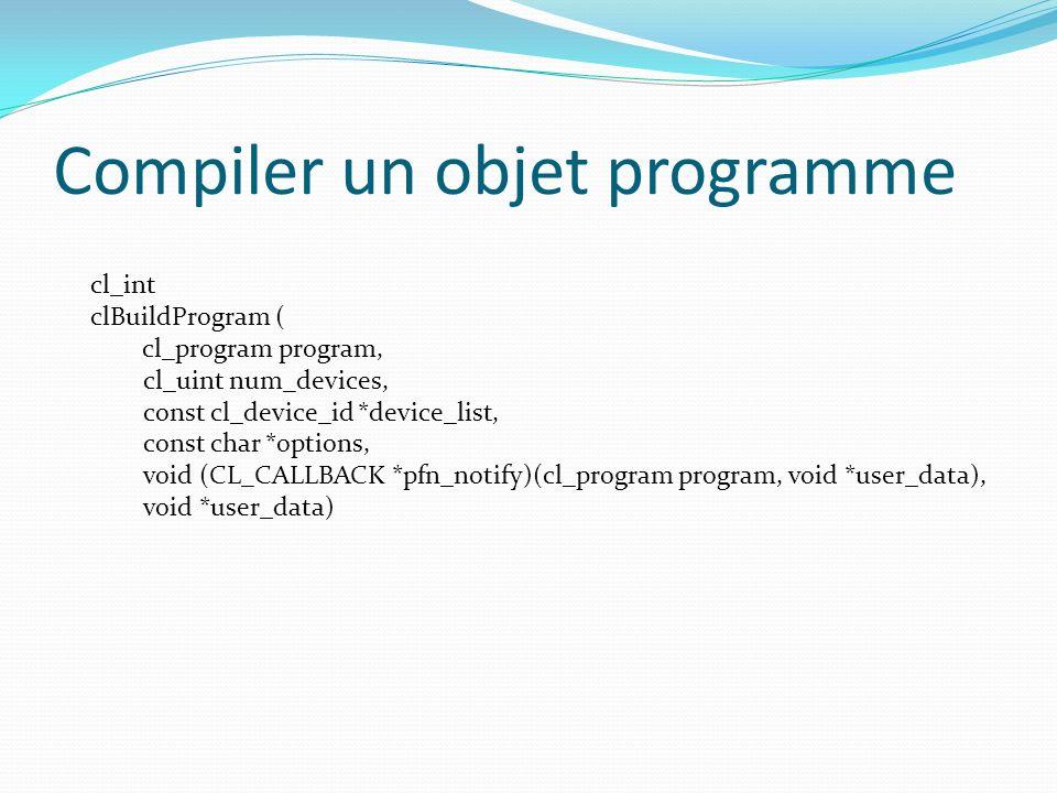 Compiler un objet programme