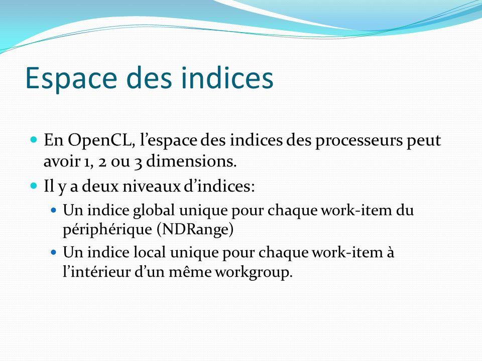 Espace des indices En OpenCL, l'espace des indices des processeurs peut avoir 1, 2 ou 3 dimensions.