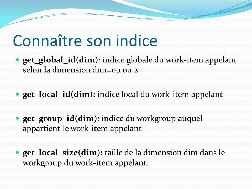 Connaître son indice get_global_id(dim): indice globale du work-item appelant selon la dimension dim=0,1 ou 2.