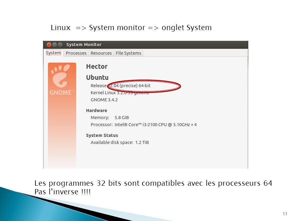 Linux => System monitor => onglet System