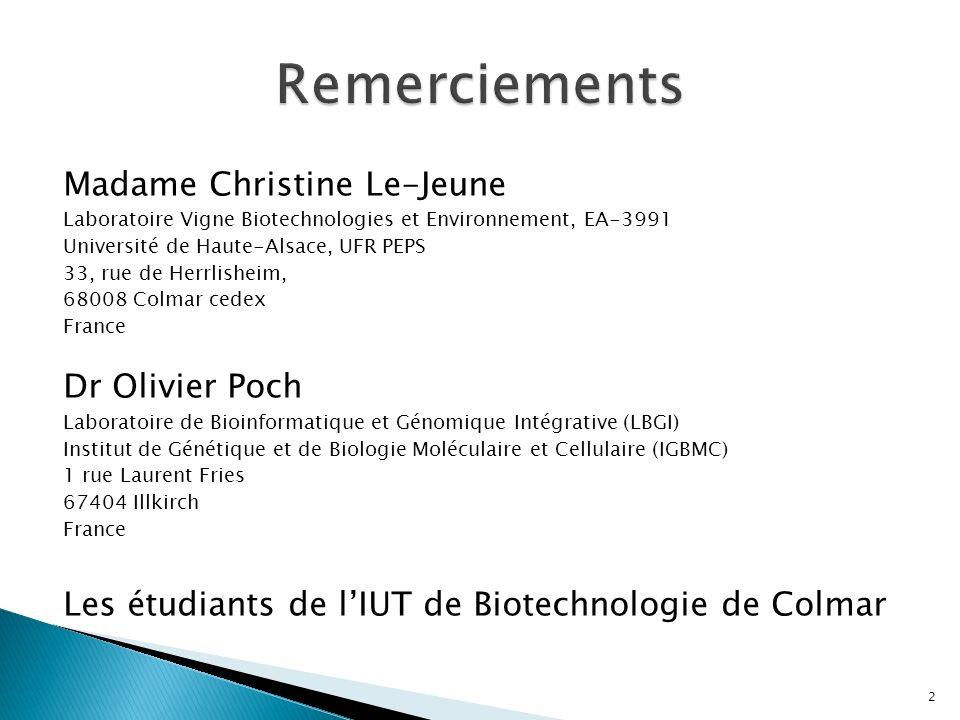 Remerciements Madame Christine Le-Jeune Dr Olivier Poch