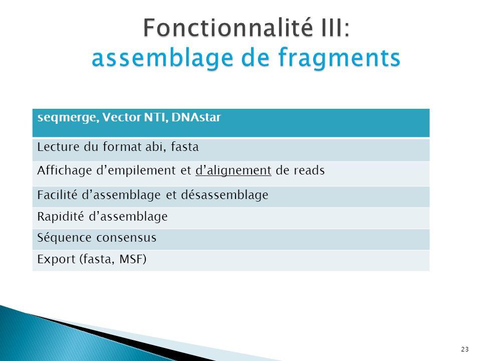 Fonctionnalité III: assemblage de fragments