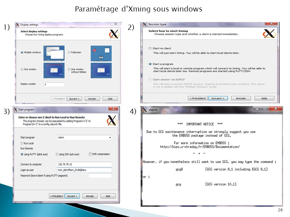 Paramétrage d'Xming sous windows