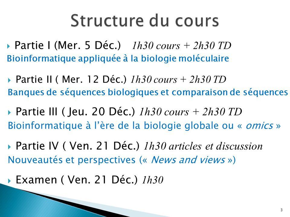 Structure du cours Partie I (Mer. 5 Déc.) 1h30 cours + 2h30 TD