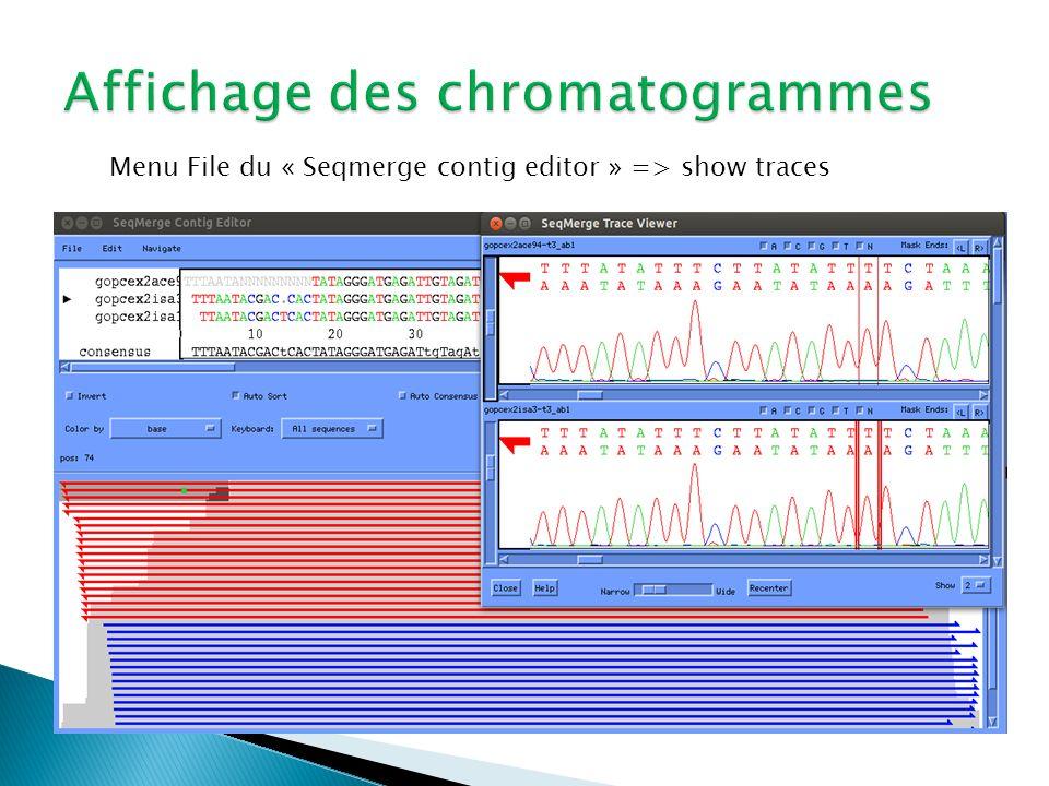 Affichage des chromatogrammes