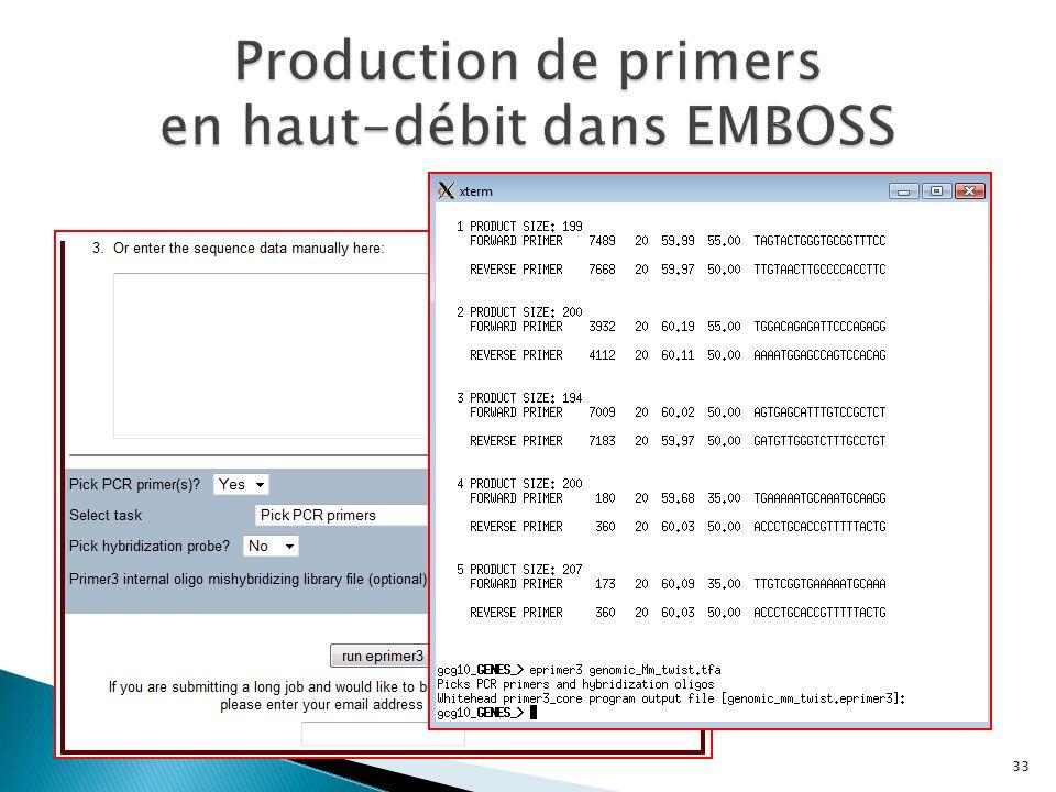 Production de primers en haut-débit dans EMBOSS