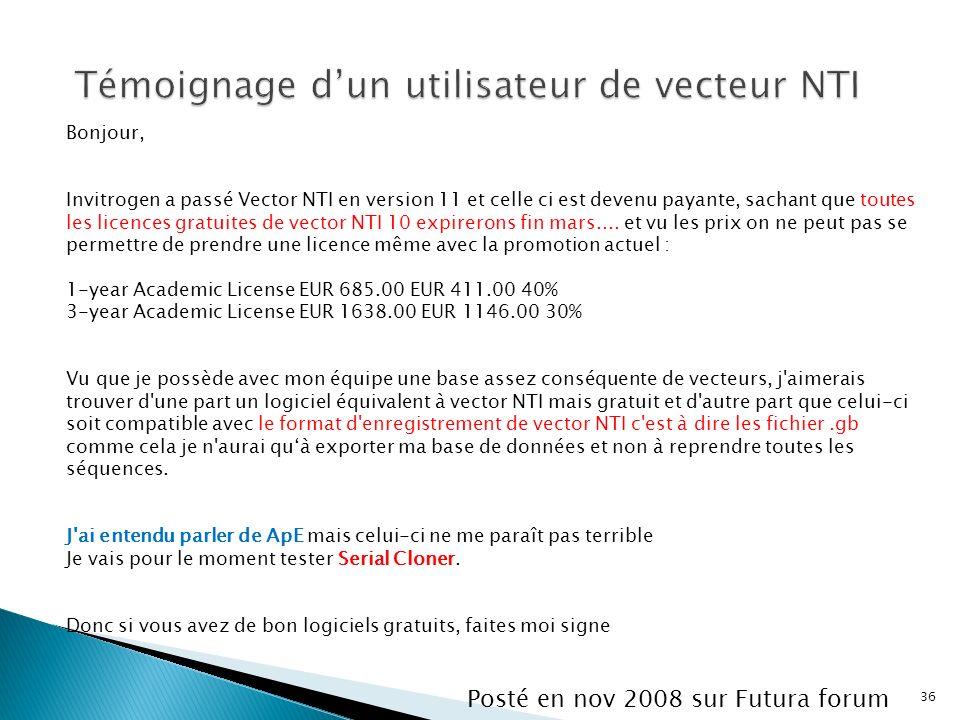 Témoignage d'un utilisateur de vecteur NTI