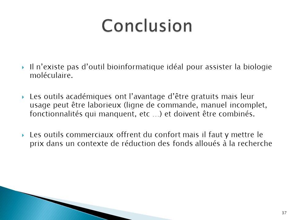 Conclusion Il n'existe pas d'outil bioinformatique idéal pour assister la biologie moléculaire.