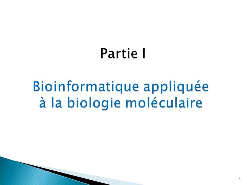 Partie I Bioinformatique appliquée à la biologie moléculaire