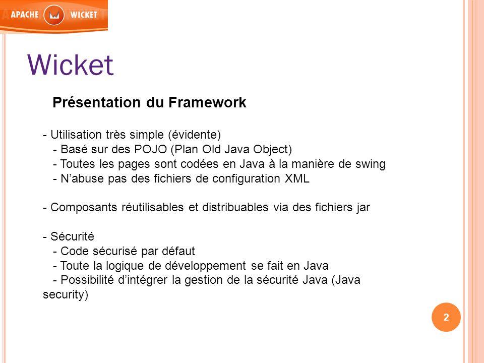 Wicket Présentation du Framework - Utilisation très simple (évidente)