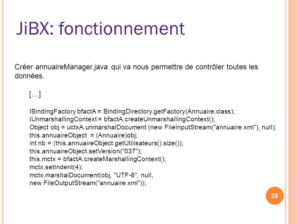 JiBX: fonctionnement Créer annuaireManager.java qui va nous permettre de contrôler toutes les données.
