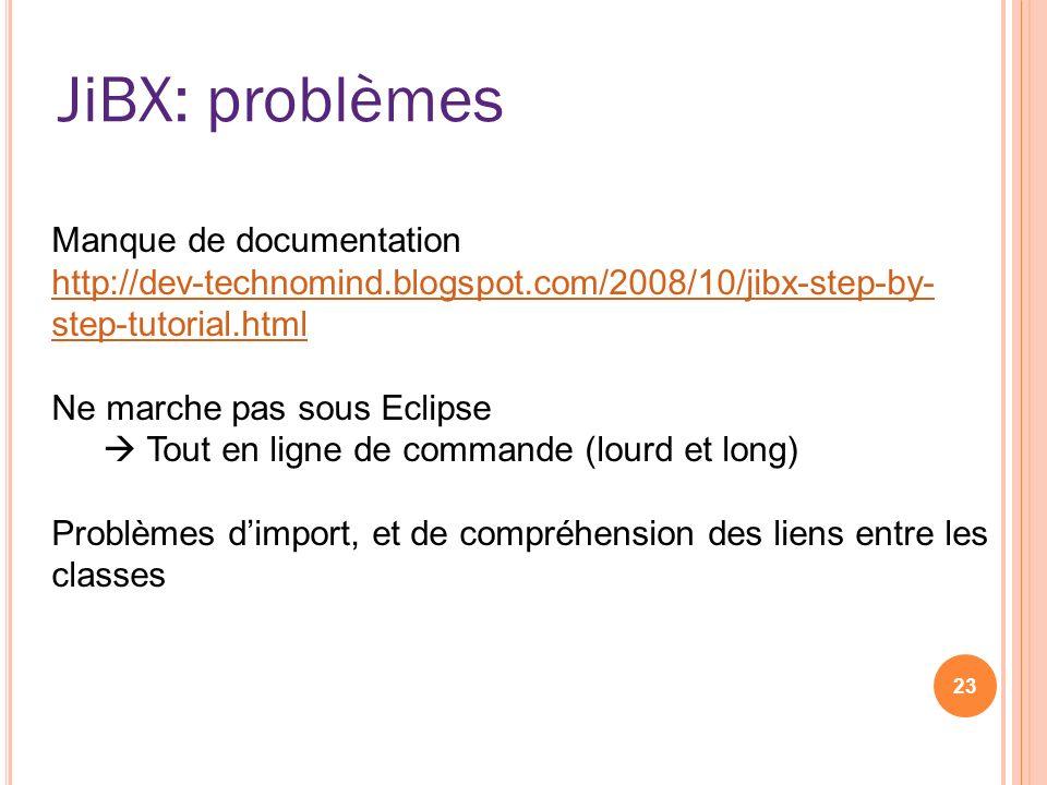 JiBX: problèmes Manque de documentation
