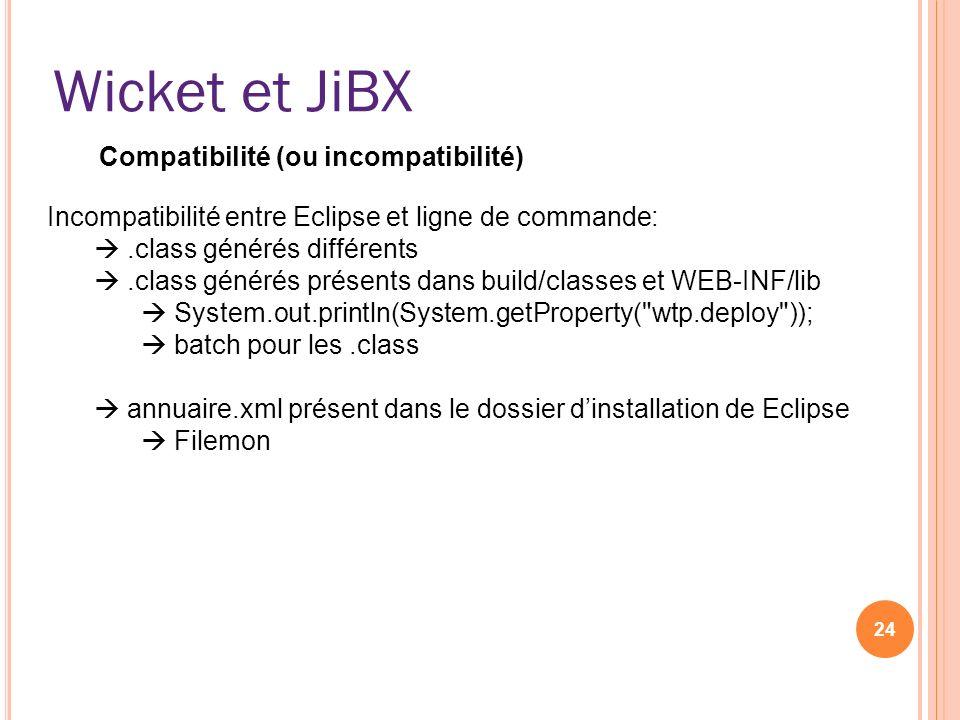 Wicket et JiBX Compatibilité (ou incompatibilité)