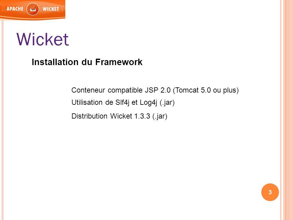 Wicket Installation du Framework