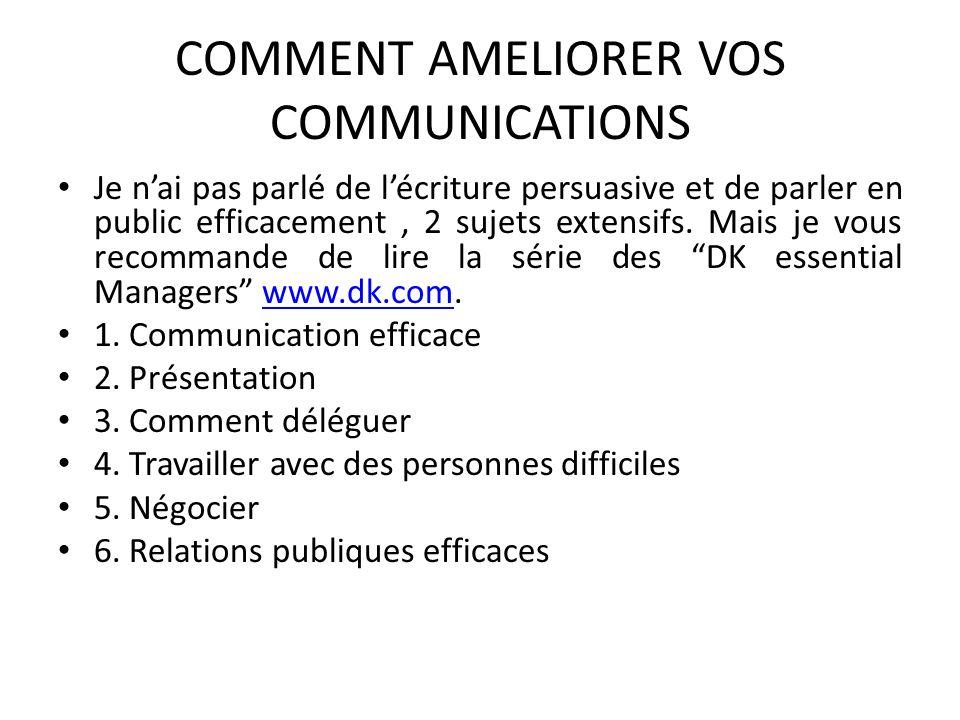 COMMENT AMELIORER VOS COMMUNICATIONS