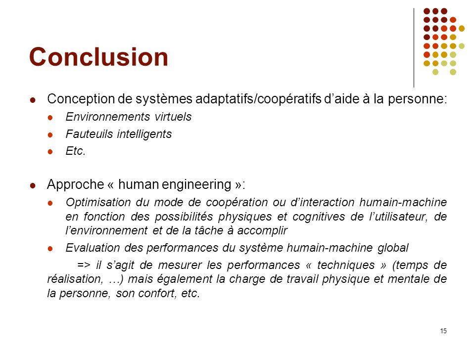 Conclusion Conception de systèmes adaptatifs/coopératifs d'aide à la personne: Environnements virtuels.