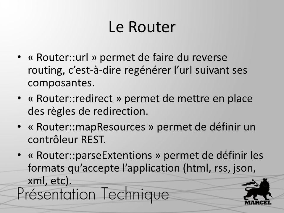 Le Router « Router::url » permet de faire du reverse routing, c'est-à-dire regénérer l'url suivant ses composantes.