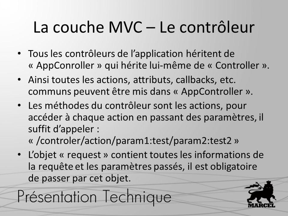 La couche MVC – Le contrôleur