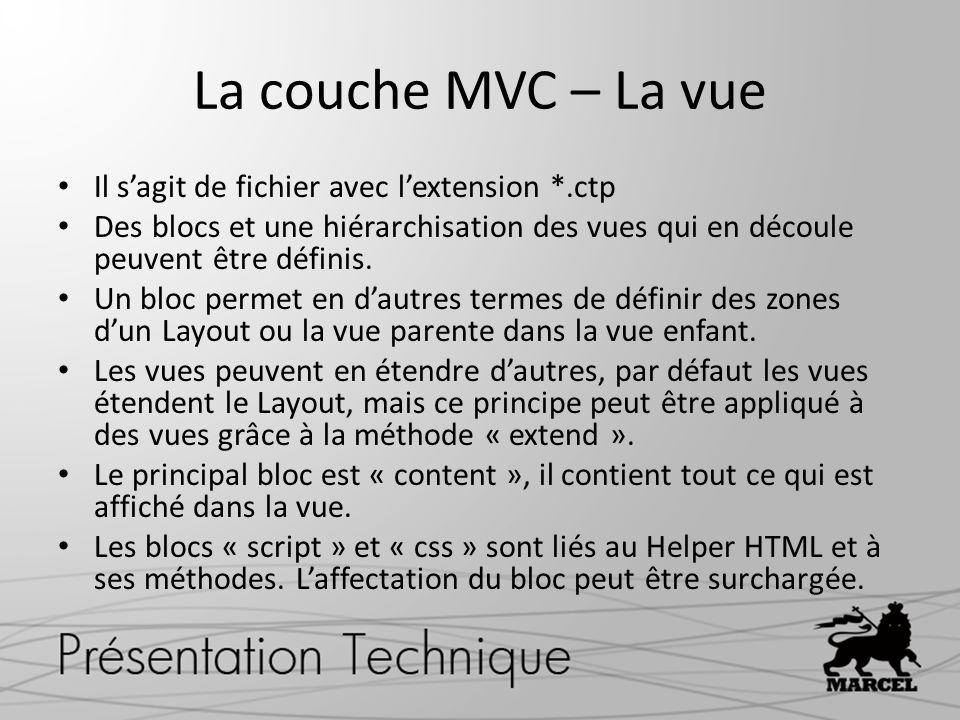 La couche MVC – La vue Il s'agit de fichier avec l'extension *.ctp