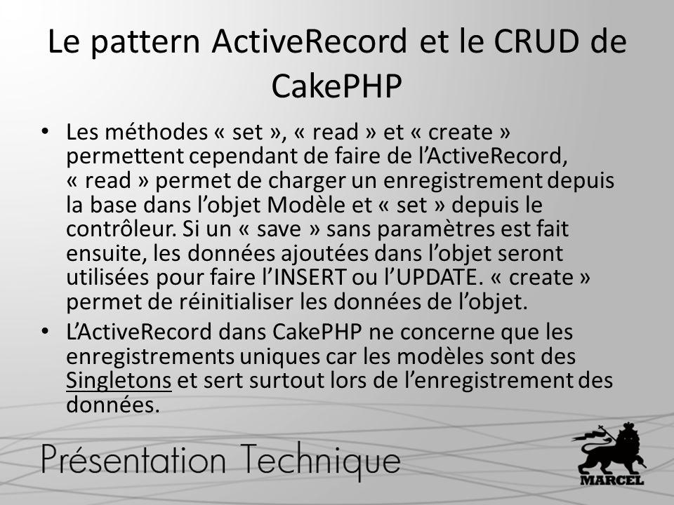 Le pattern ActiveRecord et le CRUD de CakePHP
