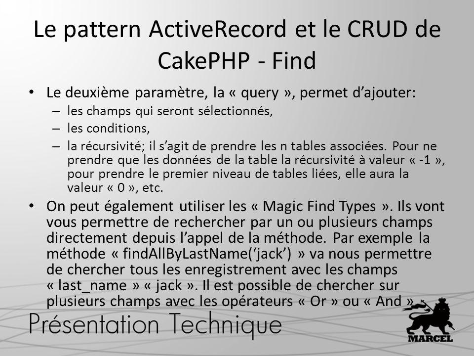 Le pattern ActiveRecord et le CRUD de CakePHP - Find
