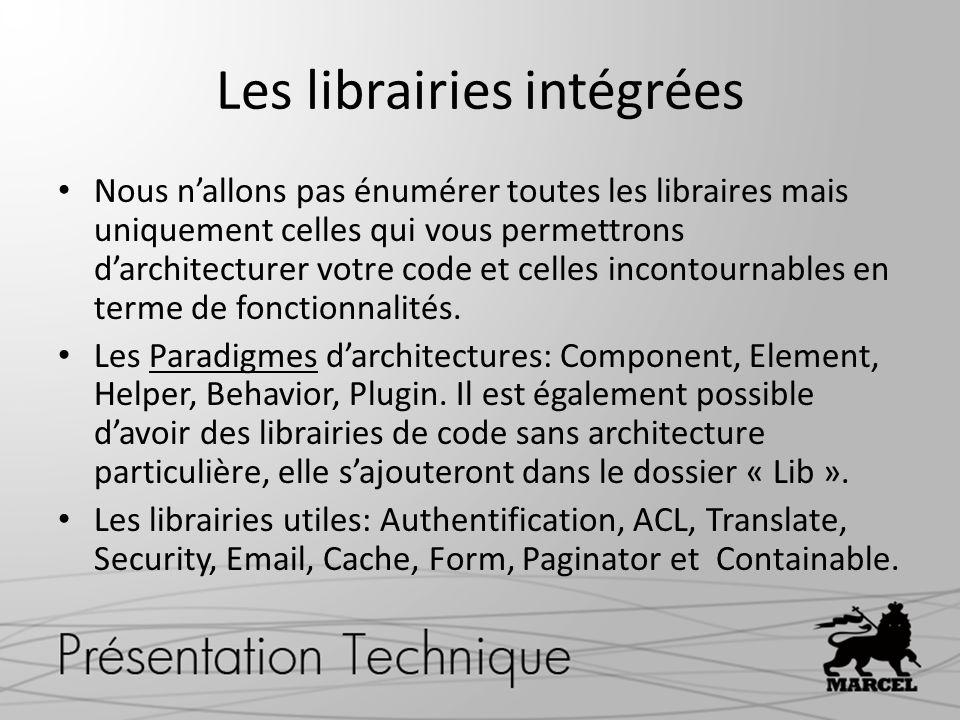 Les librairies intégrées