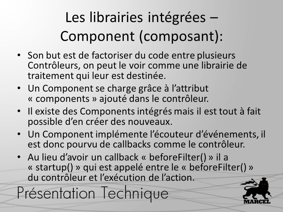 Les librairies intégrées – Component (composant):