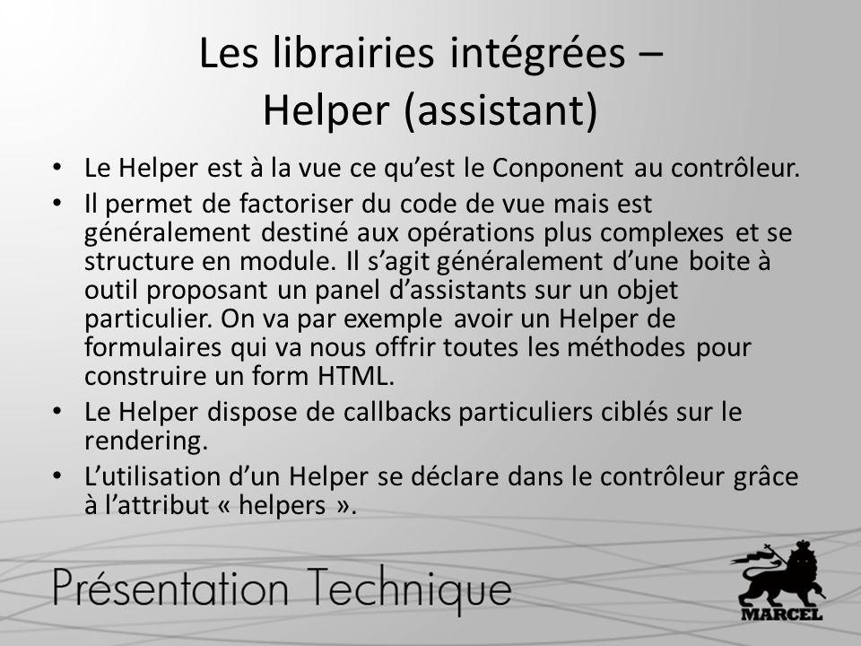 Les librairies intégrées – Helper (assistant)