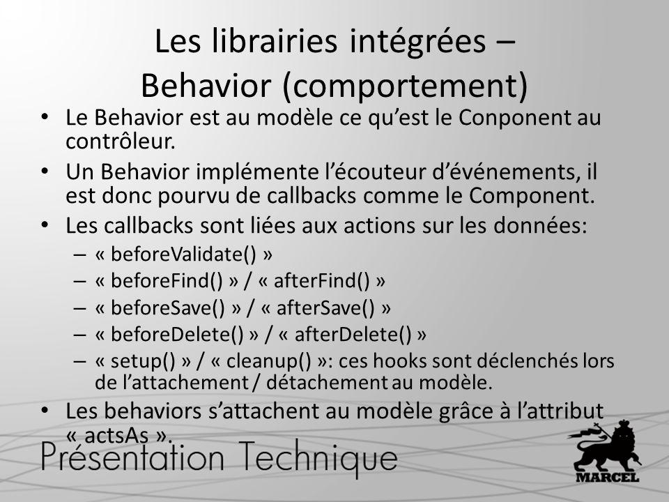 Les librairies intégrées – Behavior (comportement)