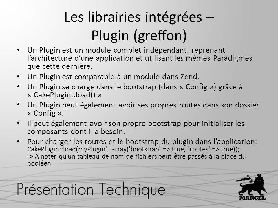 Les librairies intégrées – Plugin (greffon)