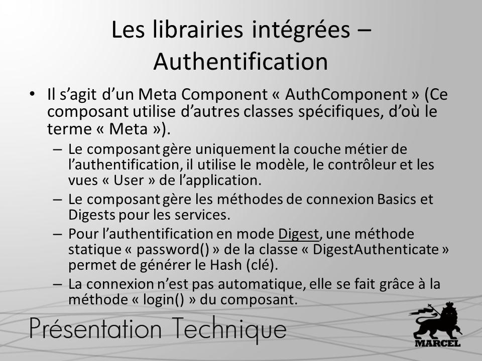 Les librairies intégrées – Authentification