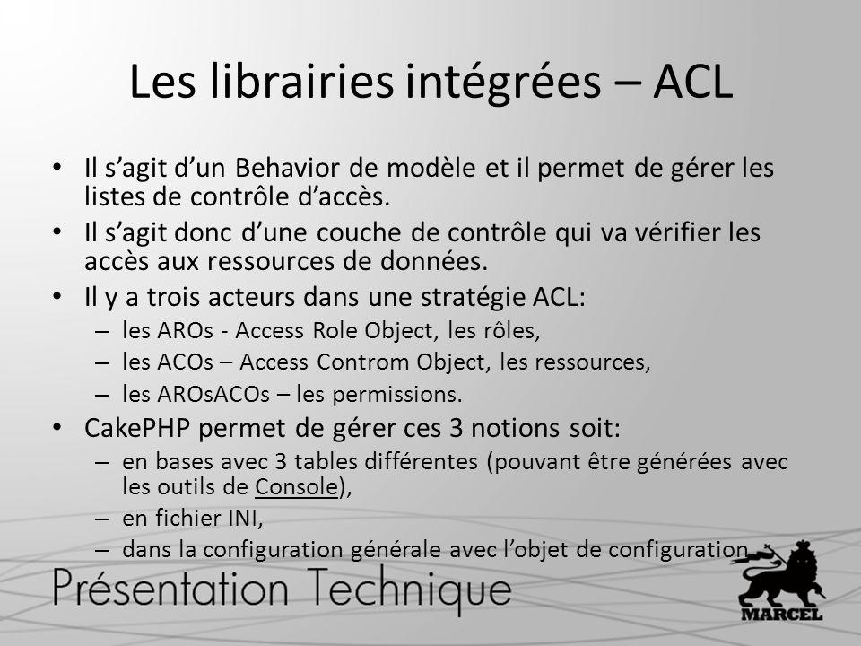 Les librairies intégrées – ACL