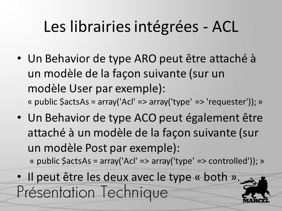 Les librairies intégrées - ACL