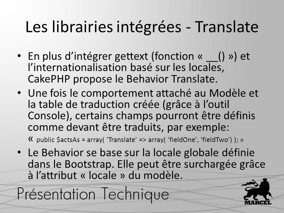 Les librairies intégrées - Translate