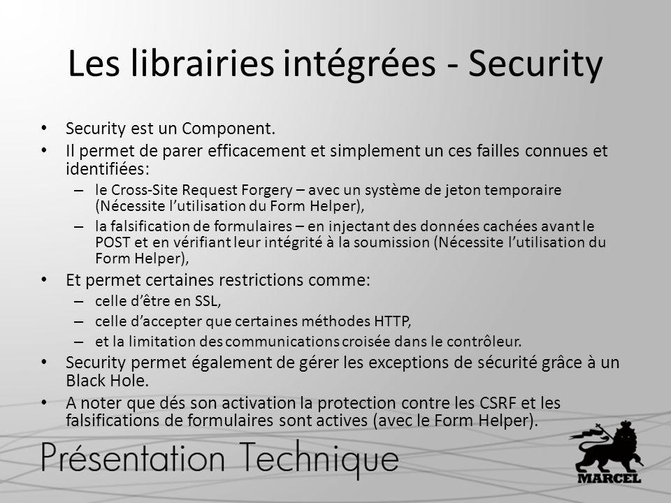 Les librairies intégrées - Security