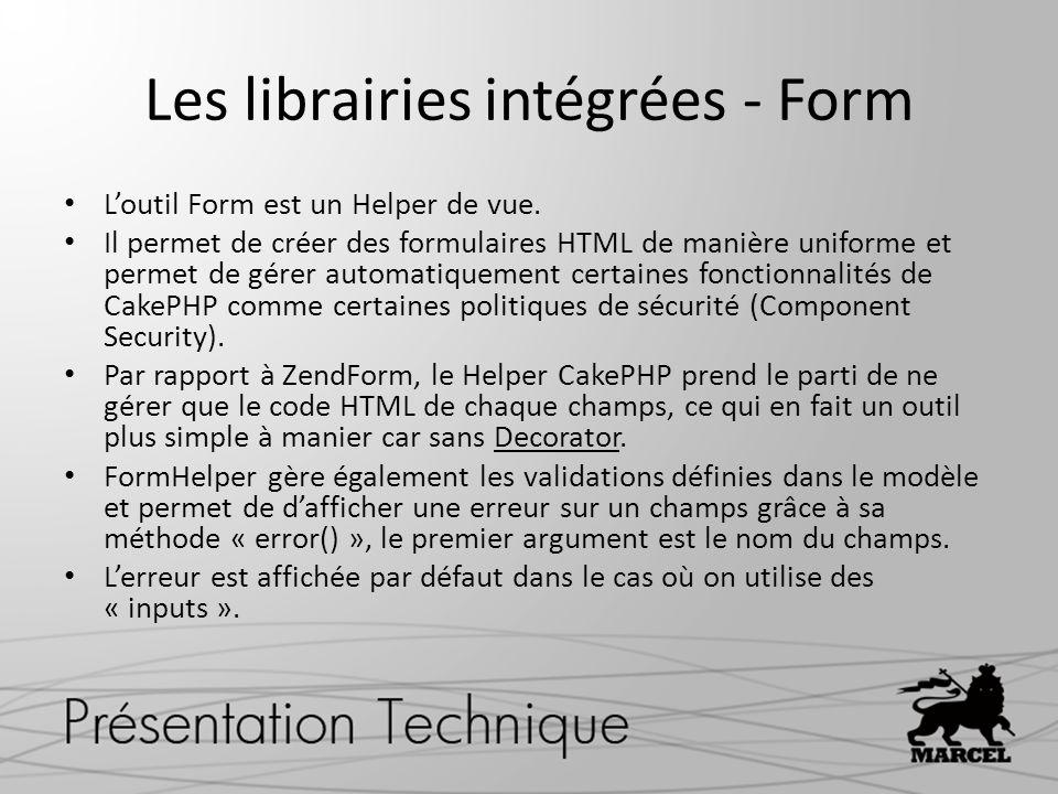 Les librairies intégrées - Form