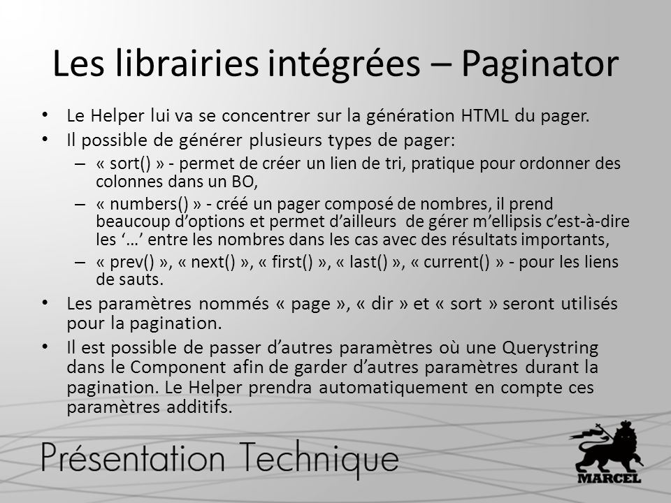 Les librairies intégrées – Paginator