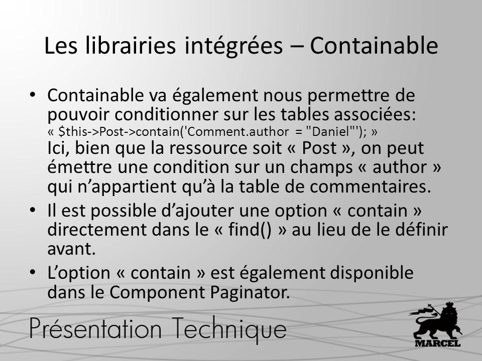 Les librairies intégrées – Containable