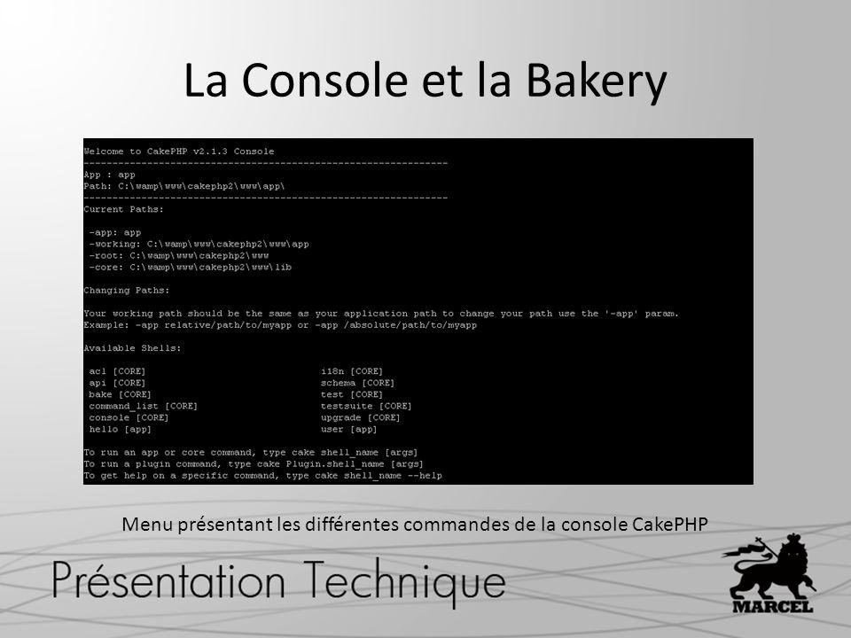 Menu présentant les différentes commandes de la console CakePHP