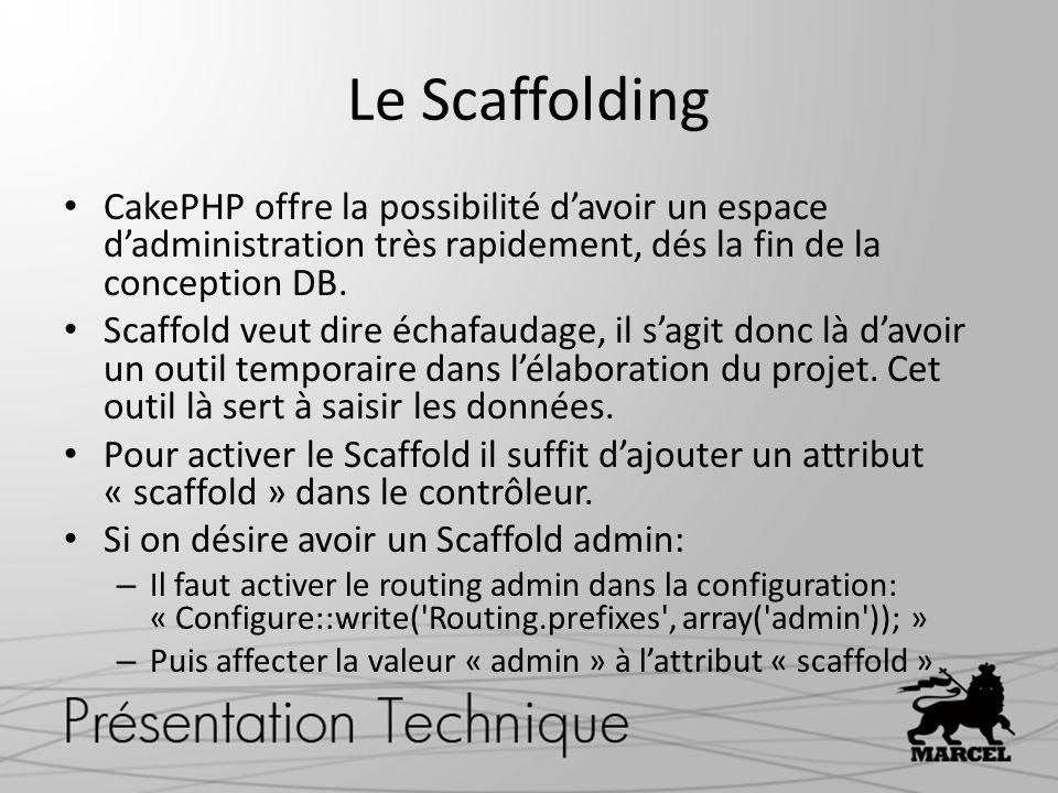 Le Scaffolding CakePHP offre la possibilité d'avoir un espace d'administration très rapidement, dés la fin de la conception DB.