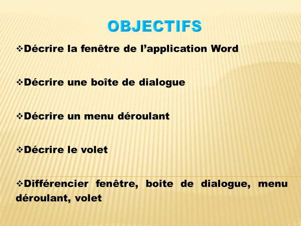 OBJECTIFS Décrire la fenêtre de l'application Word