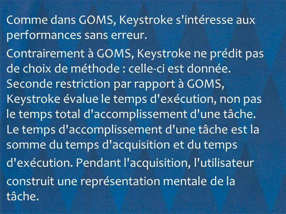 Comme dans GOMS, Keystroke s intéresse aux performances sans erreur