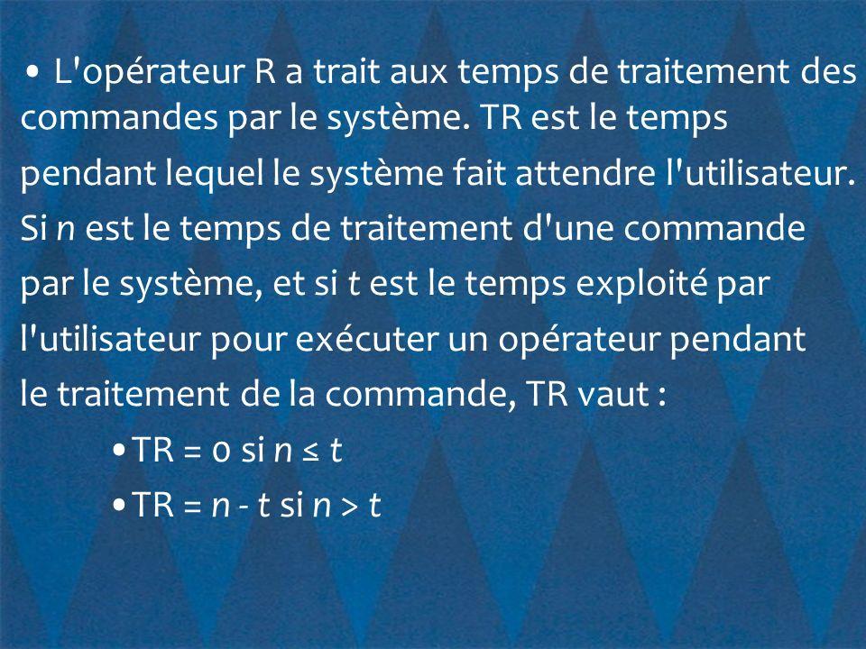 • L opérateur R a trait aux temps de traitement des commandes par le système.