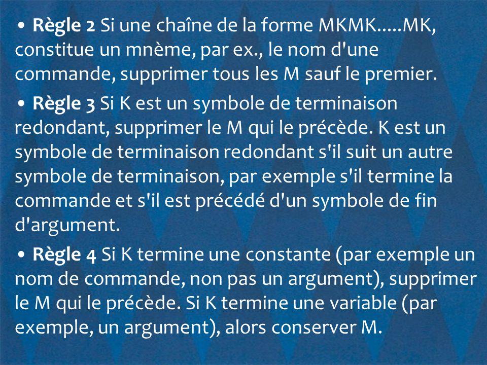 • Règle 2 Si une chaîne de la forme MKMK