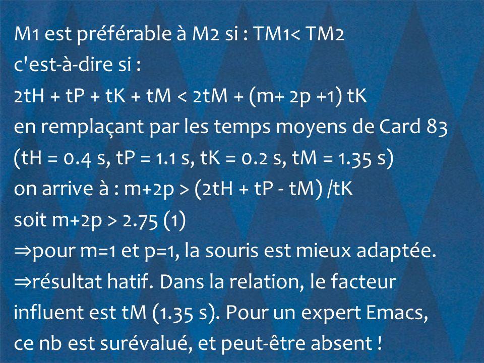 M1 est préférable à M2 si : TM1< TM2 c est-à-dire si : 2tH + tP + tK + tM < 2tM + (m+ 2p +1) tK en remplaçant par les temps moyens de Card 83 (tH = 0.4 s, tP = 1.1 s, tK = 0.2 s, tM = 1.35 s) on arrive à : m+2p > (2tH + tP - tM) /tK soit m+2p > 2.75 (1) ⇒pour m=1 et p=1, la souris est mieux adaptée.