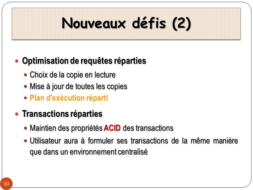 Nouveaux défis (2) Optimisation de requêtes réparties