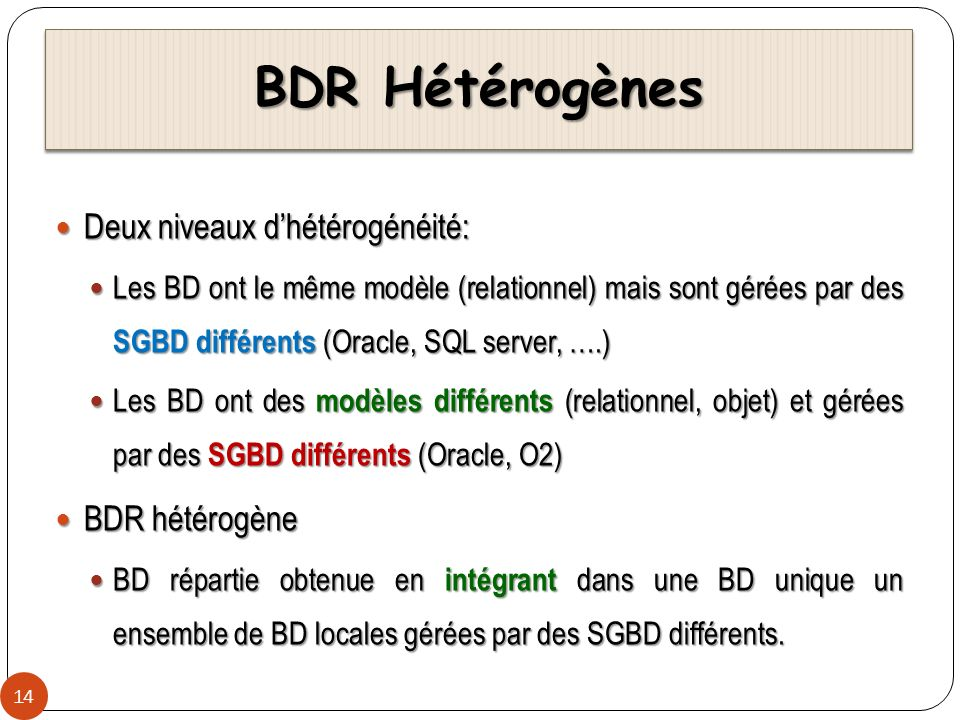 BDR Hétérogènes Deux niveaux d'hétérogénéité: BDR hétérogène