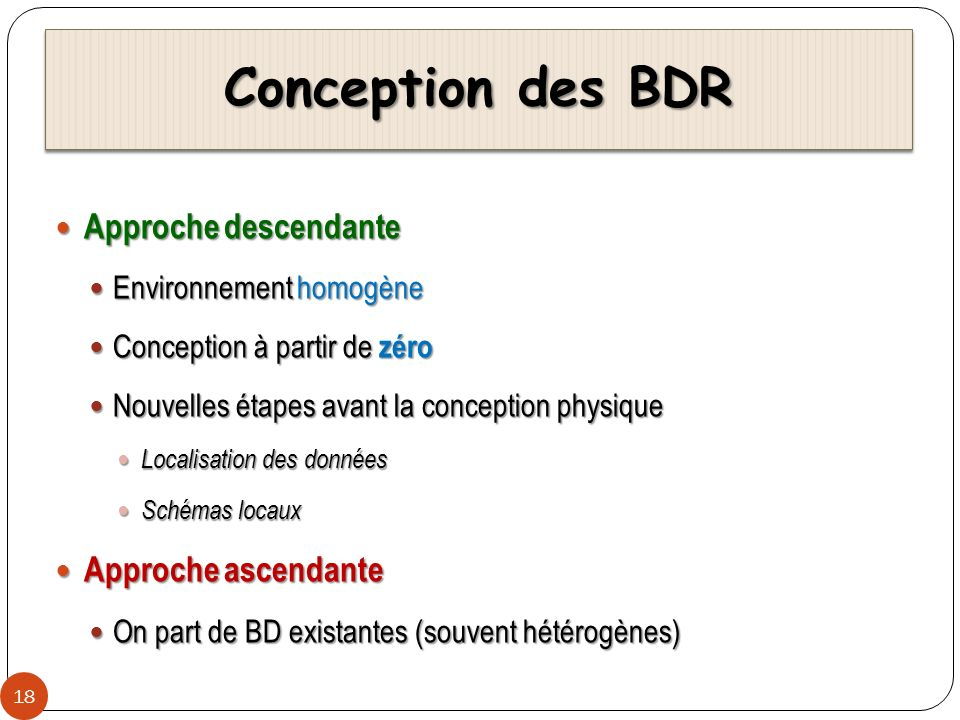 Conception des BDR Approche descendante Approche ascendante